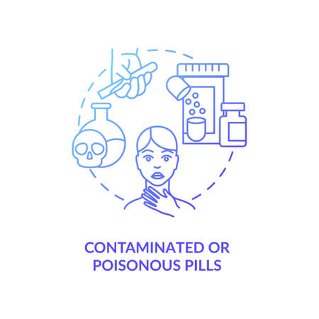 Contaminated or poisonous pills concept icon. Online pharmacy idea thin line illustration. Safe shopping. Unregistered pharmacies threats. Vector isolated outline RGB color drawing.