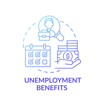 Unemployment benefits concept icon. Lose job and temporary income idea thin line illustration. Getting help pay expenses. Unemployed people. Vector isolated outline RGB color drawing