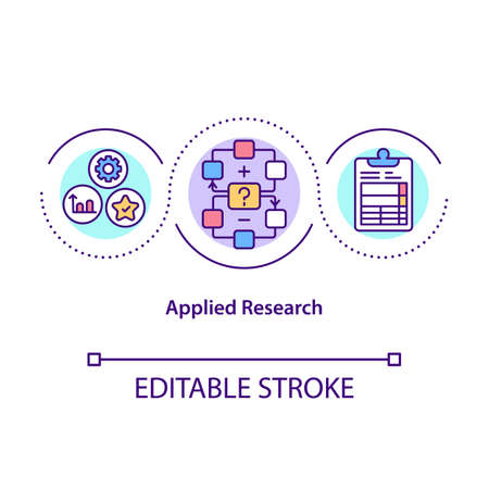 Applied research concept icon. Solve specific problems or provide innovative solutions to issues. Science idea thin line illustration. Vector isolated outline RGB color drawing. Editable stroke