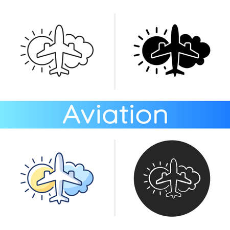 Aeronautical meteorology icon. Civil aviation issues. Wheather prediction. Flight safety. Plane with sun and cloud. Safety. Linear black and RGB color styles. Isolated vector illustrations Vetores
