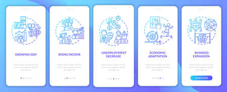 Economic adaptation and adjusting onboarding mobile app page screen with concepts. Business expansion walkthrough steps graphic instructions. UI vector template with RGB color illustrations