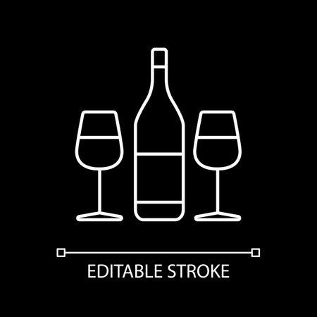 Wine for romantic dinner white linear icon for dark theme. Couple date. Wine tasting. Alcohol drink. Thin line customizable illustration. Isolated vector contour symbol for night mode. Editable stroke Vektoros illusztráció