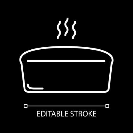 Hot bread loaf white linear icon for dark theme. Homemade bakery. Steaming bun. Cook food. Thin line customizable illustration. Isolated vector contour symbol for night mode. Editable stroke