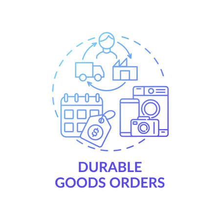 Durable goods orders concept icon. Economic indicator idea thin line illustration. Shipments and inventories. Manufacturers for supplying. Vector isolated outline RGB color drawing