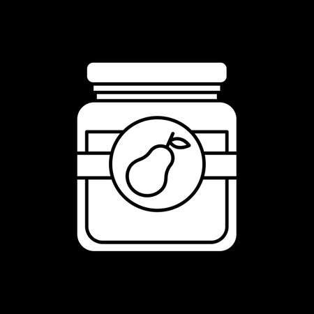 Pear jam in glass jar dark mode glyph icon. Conserved fruity sauce in container. Preserved marmalade in glassware. White silhouette symbol on black space. Vector isolated illustration