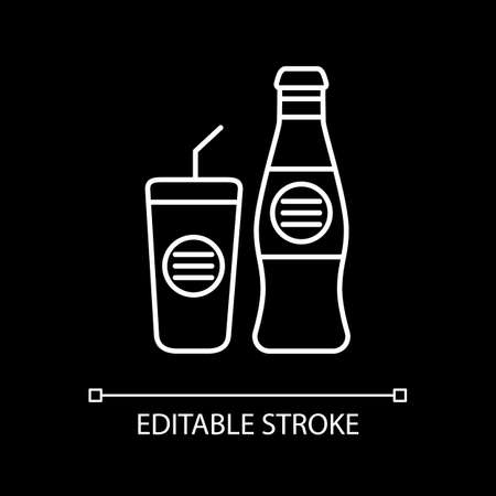 Soft drink bottle with glass cup white linear icon for dark theme. Bar menu. Cafe soda. Thin line customizable illustration. Isolated vector contour symbol for night mode. Editable stroke