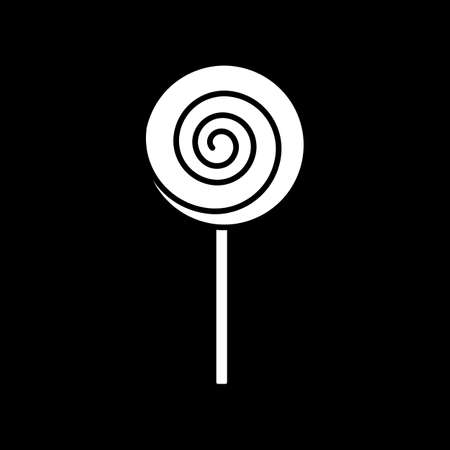 Lollipop dark mode glyph icon. Candy on stick. Sweet unhealthy treat. Sugar product with calories. Confectionery product. White silhouette symbol on black space. Vector isolated illustration