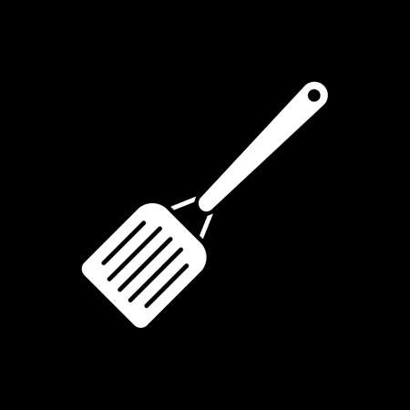 Spatula dark mode glyph icon. Cooking tool. Kitchen utensils. Household appliance. Equipment for cookery. Prepare food. White silhouette symbol on black space. Vector isolated illustration