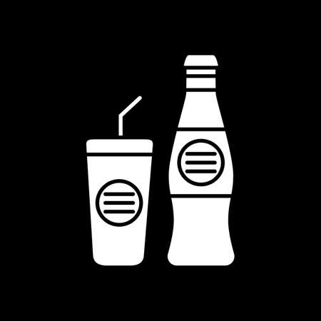 Soft drink bottle with glass cup dark mode glyph icon. Bar menu beverage. Cafe soda. Bottled coke and mug with straw. White silhouette symbol on black space. Vector isolated illustration