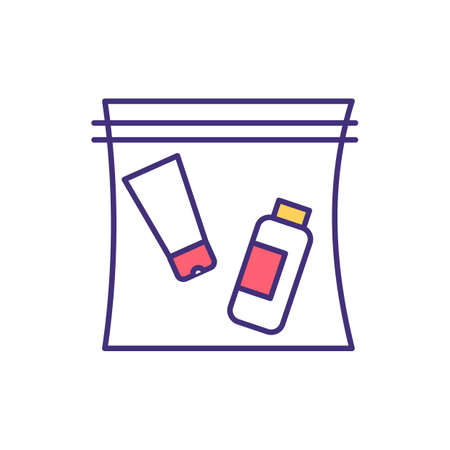Travel-sized container RGB color icon. 100 ml liquids and gels in hand luggage. Medical equipment. Resealable plastic bag. Carry-on liquids. Airport security point. Isolated vector illustration