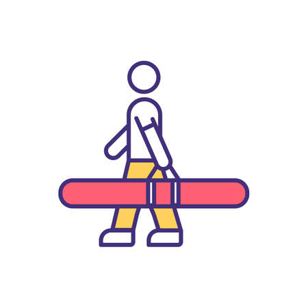 Special baggage RGB color icon. Exceeding luggage measurement. Restriction for bags and containers transportation. Paying carriage fee for extra baggages. Isolated vector illustration