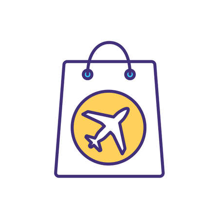 Packing carry-on bag RGB color icon. Hand luggage item. Souvenirs from vacation. Bringing gifts from travel. Baggage restrictions. Taking items on board plane. Isolated vector illustration