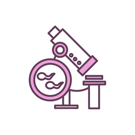 Semen analysis RGB color icon. Sexual dysfunction and male infertility. Abnormalities identifying. Genetic testing. Research in male reproduction. Sperm count test. Isolated vector illustration