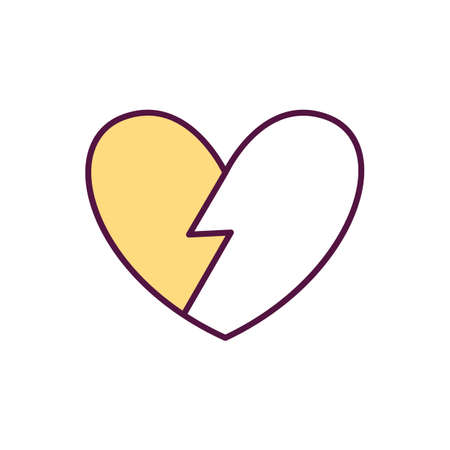 Broken heart syndrome RGB color icon. Heart muscle getting weak. Stress-induced cardiomyopathy. Temporary cardiac condition. Physical illness, stressful situations. Isolated vector illustration