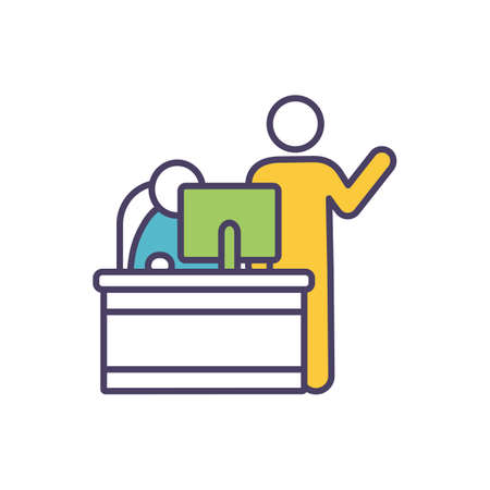 Mentor and mentee in workplace RGB color icon. Career development. Mentoring, coaching. Providing guidance to less-experienced employee. Teaching about responsibilities. Isolated vector illustration