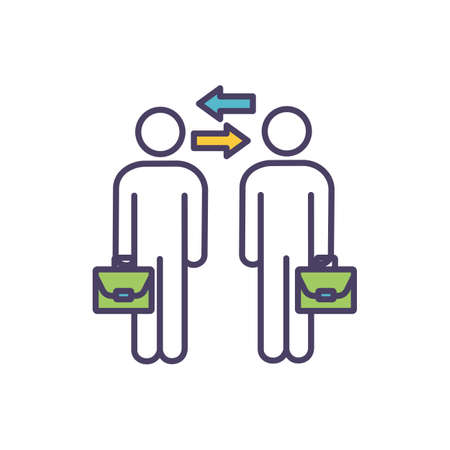 Collaboration in workplace RGB color icon. Establishing idea-sharing culture. Experience, ideas exchange. Team members working together for decision-making. Isolated vector illustration Vecteurs