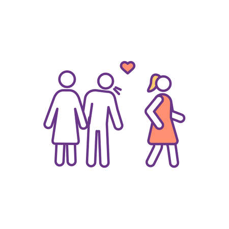 Adultery RGB color icon. Cheating, infidelity. Emotional betrayal in marriage. Jealousy relationship. Sexual relations between married and unmarried person. Isolated vector illustration