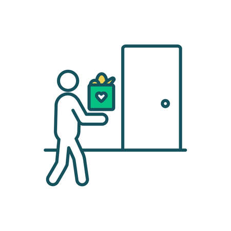 Delivery RGB color icon. Courier service. Transporting goods process. Delivering packages, messages, consignments. Bringing letters, parcels to predefined destination. Isolated vector illustration Векторная Иллюстрация