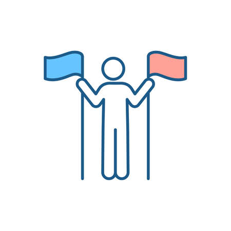 Multiple citizenship RGB color icon. Legal status. Being two countries citizen at same time. Rights and responsibilities fulfillment. Dual citizenship, nationality. Isolated vector illustration