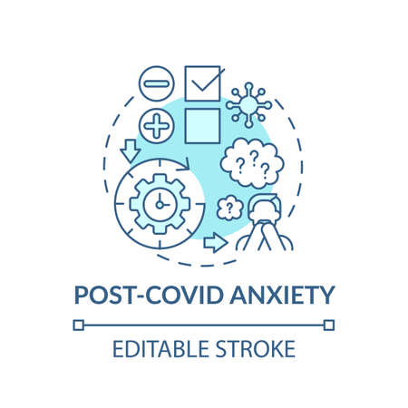 Post anxiety concept icon. Depression and closing business idea thin line illustration. Emotional and physical problems. Vector isolated outline RGB color drawing. Editable stroke Vektorgrafik