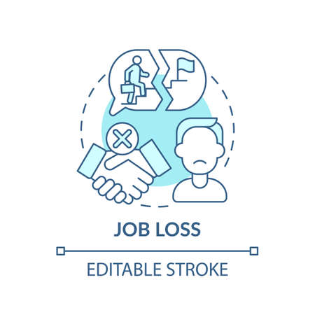 Job loss concept icon. Rise in unemployment rate idea thin line illustration. Influence virus restrictions. Lockdowns. Vector isolated outline RGB color drawing. Editable stroke