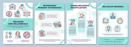 Religion and millennials brochure template. Religious renewal. Flyer, booklet, leaflet print, cover design with linear icons. Vector layouts for magazines, annual reports, advertising posters