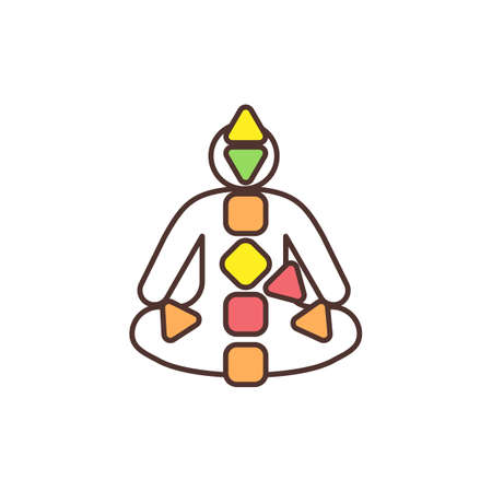 Human design chart RGB color icon. Natural energy flow. Centers and channels. Chakra system. Body consciousness activation. Revealing genetic design. Sacral responses. Isolated vector illustration