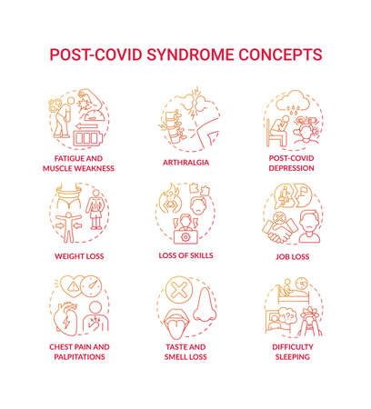 Post-covid syndrome concept icons set. Coronavirus damage lungs, heart and brain idea thin line RGB color illustrations. Quarantine and covid-19. Disease. Vector isolated outline drawings