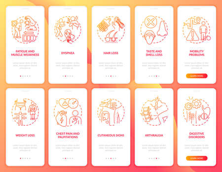 Post-covid syndrome onboarding mobile app page screen with concepts set. Arthralgia and weight loss walkthrough 5 steps graphic instructions. UI vector template with RGB color illustrations