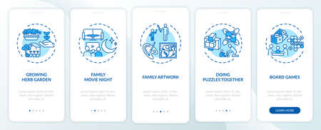 Indoor family activities onboarding mobile app page screen with concepts. Family movie night walkthrough 5 steps graphic instructions. UI vector template with RGB color illustrations