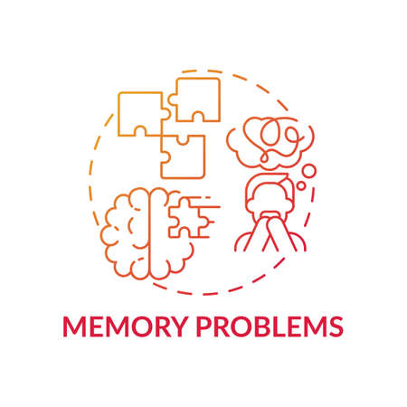 Memory problems concept icon. Memory loss and confusion idea thin line illustration. Results of sever infection. Respiratory virus and amnesia. Vector isolated outline RGB color drawing