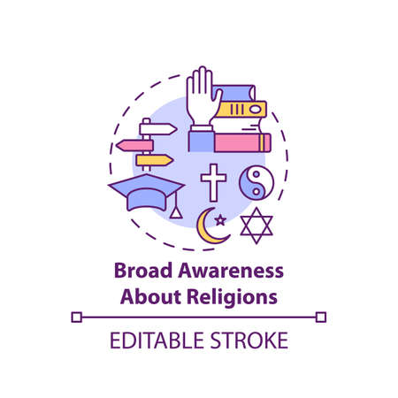 Broad awareness about religion concept icon. Culture diversity. Understanding spirituality. Religious issues idea thin line illustration. Vector isolated outline RGB color drawing. Editable stroke