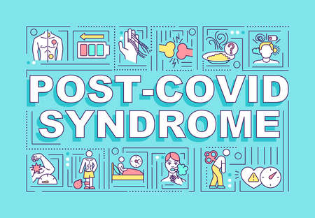 Post covid syndrome word concepts banner. Treating results of corona virus. Infographics with linear icons on blue background. Isolated typography. Vector outline RGB color illustration