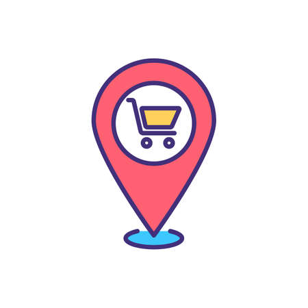 Local shopping RGB color icon. Buying productions, clothing and day-to-day items brom local business. Spending money on locally-sourced goods and services. Isolated vector illustration