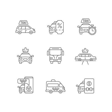 City transport linear icons set. Modern taxi service. Luxury car rental. Minivan taxis. Customizable thin line contour symbols. Isolated vector outline illustrations. Editable stroke