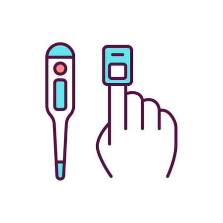 Vital signs measurement RGB color icon. Identifying patient clinical status, parameters. Thermometer, pulse oximetry. Body temperature, pulse, blood pressure examination. Isolated vector illustration