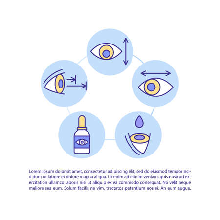 Treatment of digital eyes strain concept icon with text. Healthcare and vision care. Eye gymnastics. PPT page vector template. Brochure, magazine, booklet design element with linear illustrations Vetores