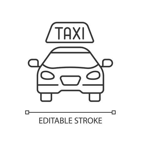 Taxis linear icon. Modern taxi. Transportation service. Convenient and fast city transport. Thin line customizable illustration. Contour symbol. Vector isolated outline drawing. Editable stroke