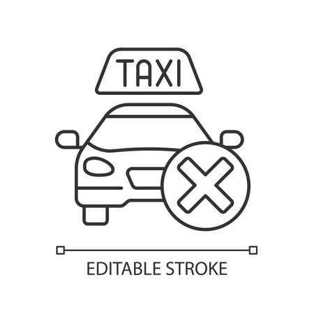 Cancellation policy linear icon. Cancel of ordered taxi. Trip cancellation penalty. Thin line customizable illustration. Contour symbol. Vector isolated outline drawing. Editable stroke