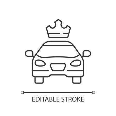 Premier cars linear icon. Service for ordering premium taxis. Comfortable ride. Luxury cab. Thin line customizable illustration. Contour symbol. Vector isolated outline drawing. Editable stroke