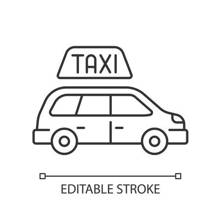 Minivan taxis linear icon. Van side view. Need to transport a large group of people. Roomy car. ... Thin line customizable illustration. Contour symbol. Vector isolated outline drawing. Editable stroke