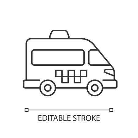 Shuttle buses linear icon. Convenient means of transportation around the city. Travel by company. Thin line customizable illustration. Contour symbol. Vector isolated outline drawing. Editable stroke Ilustración de vector