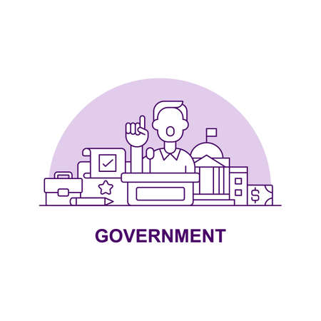 Goverment creative UI concept icon. Public administration authorities abstract illustration. Politician speech concept. Isolated vector art for UX. Color graphic design element