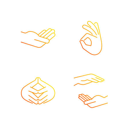 Hand gestures gradient linear vector icons set. Okay gesture. Steeple hand. Two hands holding something. Thin line contour symbols bundle. Isolated vector outline illustrations collection