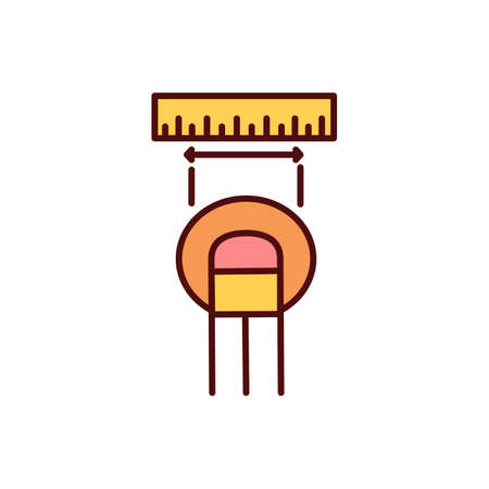 Measuring cutaneous lesions RGB color icon. Abnormal lump, ulcer. Skin lesion size measurement. Cancerous cells abnormal growth. Colored damaged area examination. Isolated vector illustration Vektorové ilustrace