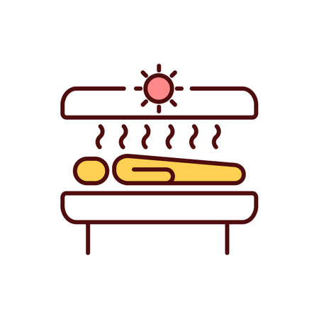 Tanning beds RGB color icon. Sunburn. Tanning booth. Over-exposure in solarium. Premature aging. Ultraviolet radiation emission. Artificial sun sources. Skin cancer. Isolated vector illustration