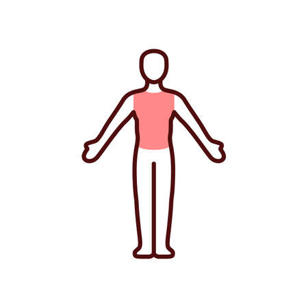 Chest pain RGB color icon. Heart attack risk. Thoracic tumors. Discomfort in upper abdomen. Crushing, burning. Muscle spasms. Chest cancer. Lungs inflammation, irritation. Isolated vector illustration Vector Illustratie