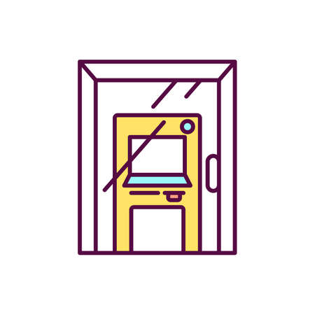 Functioning locked door yellow RGB color icon. Closed front door to bank in quarantine. ATM and banking. Currency exchange. Machine for getting money from credit card. Isolated vector illustration Vecteurs