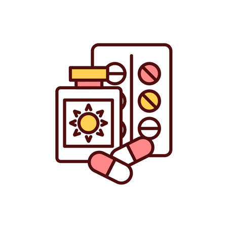 Sun-sensitizing drugs RGB color icon. Allergic reaction. Photosensitive, phototoxic drugs. Sun exposure. Causing severe skin reaction. Painkillers. Ultraviolet exposure. Isolated vector illustration