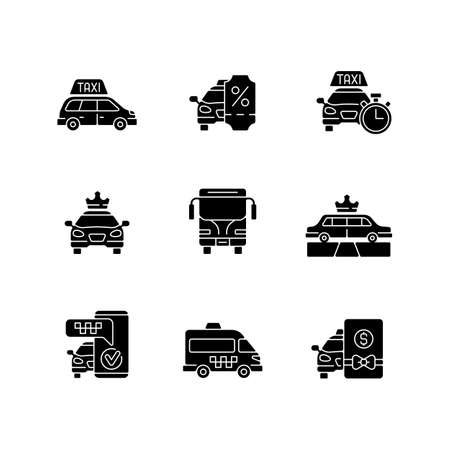 City transport black glyph icons set on white space. Modern taxi service. Luxury car rental. Minivan taxis. Charters bus transportation. Silhouette symbols. Vector isolated illustration